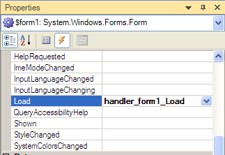 Properties Load Event: type the event handler name into the Load entry