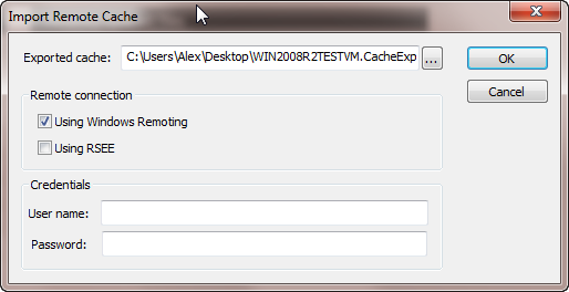 Select the cache export file