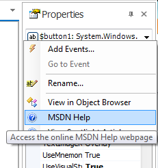 Property Panel ContextMenu