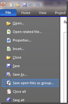 click on the File Tab and select Save open files as group…