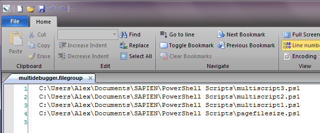 text file with the file names one by one, each in its own line