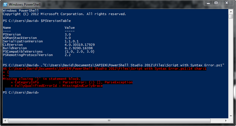 PowerShell V3 Console: syntax error produced by a script