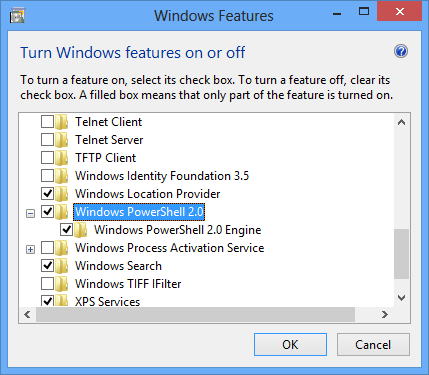Windows Features Dialog