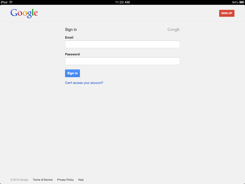 example of the Google Drive Login Screen