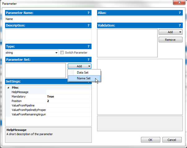 Parameter Dialog's Parameter Set section