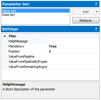 each parameter set has its own settings