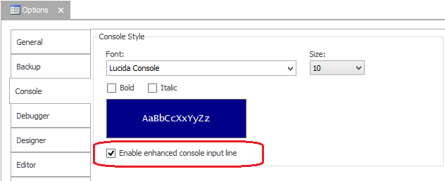 enabling the enhanced console input line