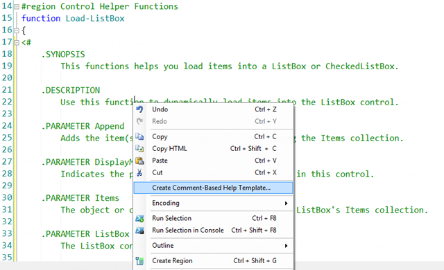 right-click on the comment-based help and select the Create Comment-Based Help Template option from the context menu