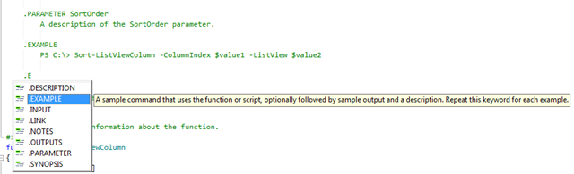 expand on the help comment with the help of PowerShell Studio's PrimalSense