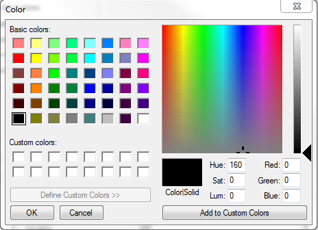 define custom colors by right-clicking on an empty color space