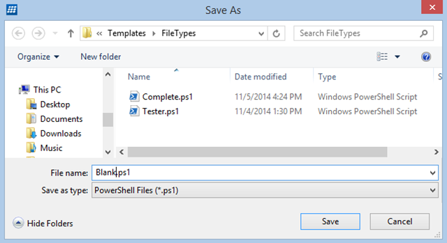 Type a name for your template file and then click Save