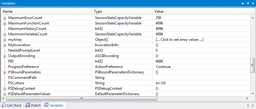 variables window shows the actual .NET type of the underlying variable