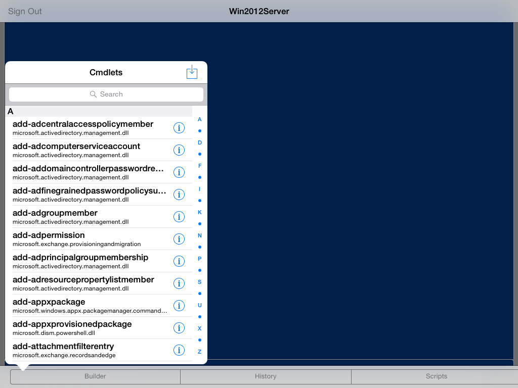 Tapping the BUILDER option brings up a popover list of all the cmdlets which iPowerShell Pro recognizes