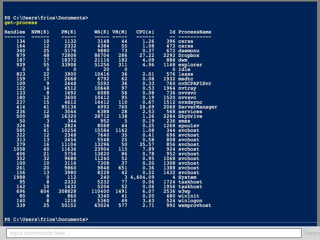 type in a PowerShell Command here and press SEND to execute the command on the server and see the results on the screen