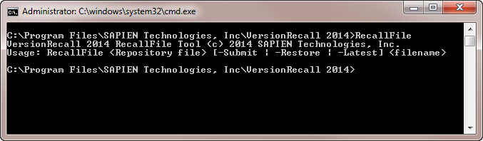 RecallFile command line tool in VersionRecall's installation folder.