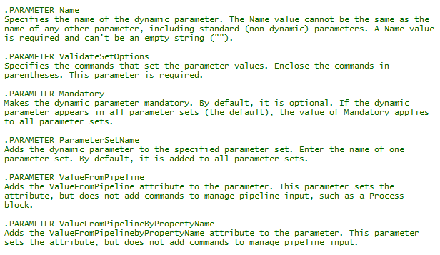 New-ValidationDynamicParam - parameter descriptions