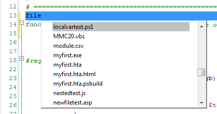 file list shows the files contained in the same folder as the currently active script
