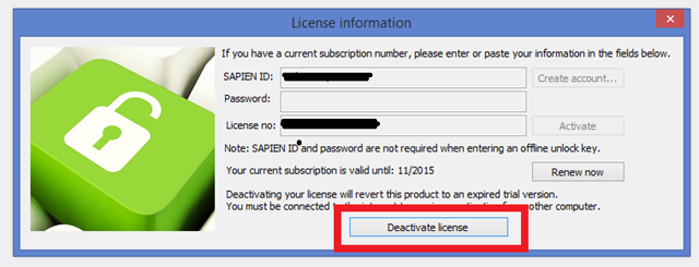 License Information popup