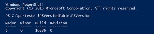 $PSVersionTable automatic variable and its PSVersion property