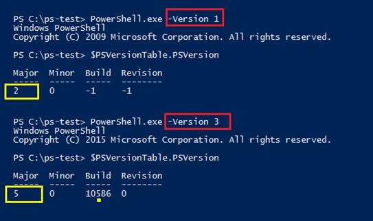 To find all installed versions of Windows PowerShell, run PowerShell.exe with its Version parameter