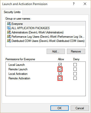 Verify that Everyone has Remote Launch and Remote Activation permissions, and then press OK
