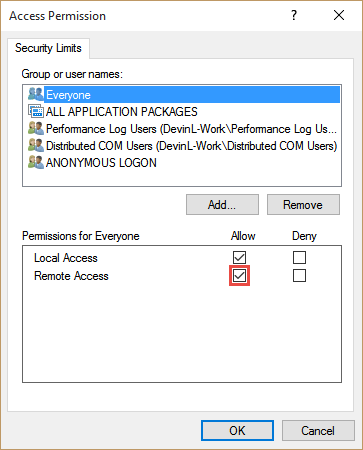 Verify that Everyone has the Remote Access permission enabled and then press OK