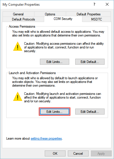 select Edit Limit in the Launch and Activation Permissions area
