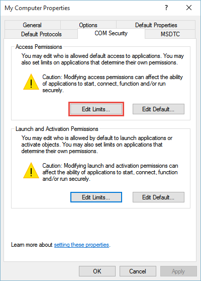 start with Access Permissions by clicking Edit Limits