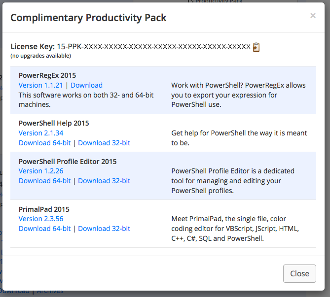 Productivity Pack Window