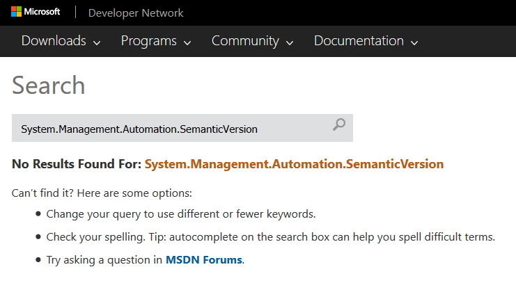 SemanticVersionInMSDN