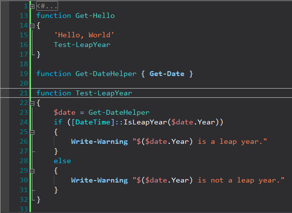 Get-Hello function; Test-LeapYear function; Get-DateHelper function; IsLeapYear static method; Get-DateHelper calls GetDate cmdlet