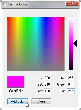 Define Color Dialog