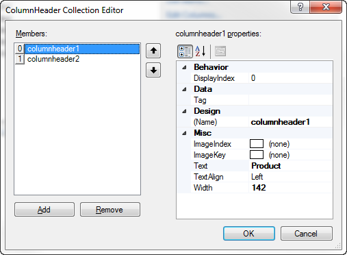 ColumnHeader Collection Editor