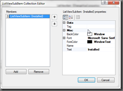 ListViewSubItem Collection Editor