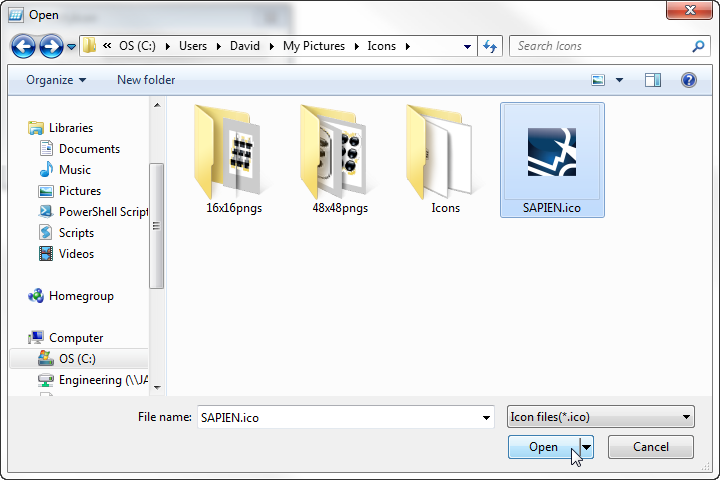Open Icon File Dialog