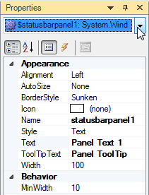 Edit StatusBarPane in Property Pane