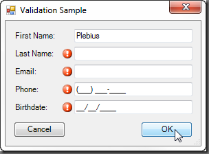 Validation Sample Form