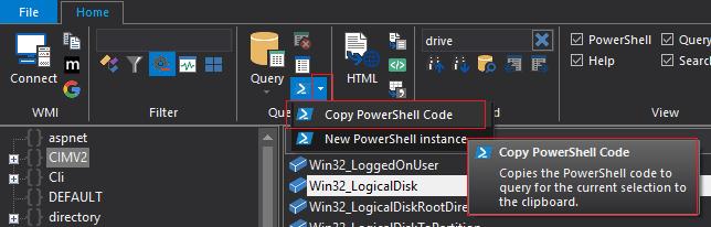 Using WMI Explorer: Run in PowerShell